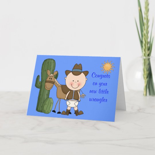New Baby Boy and Pony Congratulations - Western Card Zazzle