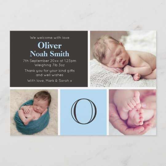 New baby boy announcement/thank you card Zazzle
