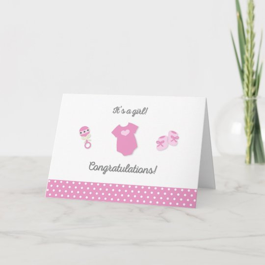 New Baby Girl Congratulations Card Zazzle