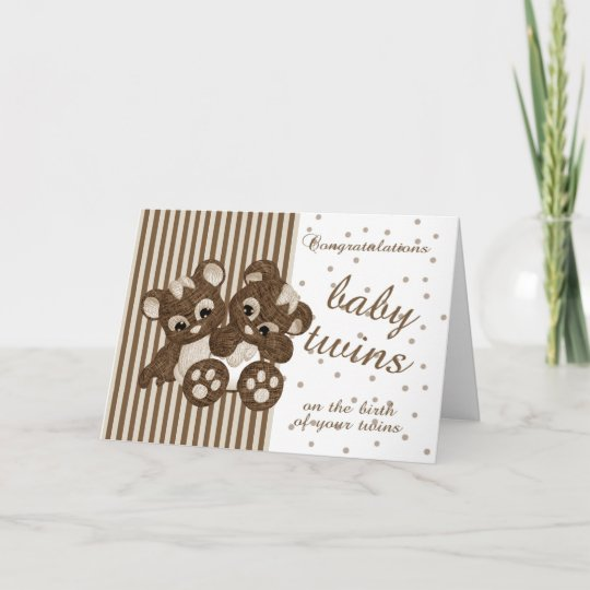 New Baby Twins Congratulations - New Baby Card - M Zazzle