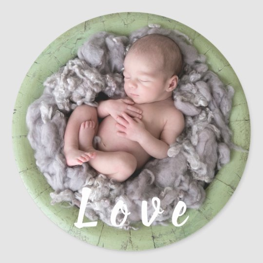 Newborn baby announcement love Baby photo picture Classic Round