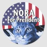 Nora For President #4 Classic Round Sticker