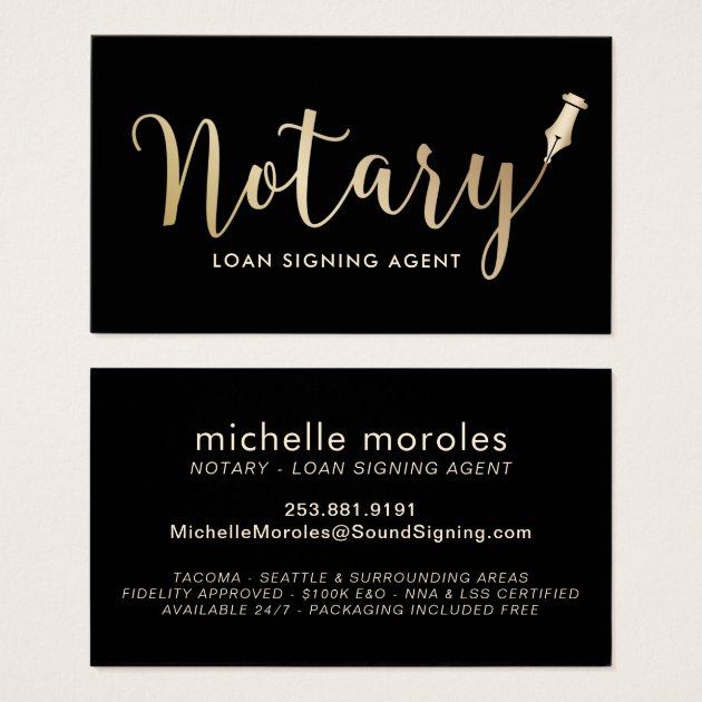 Notary - Loan Signing Agent Professional Business Card | Zazzle.com