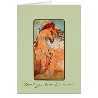 Nouveau Summer Girl Solstice Greeting Card