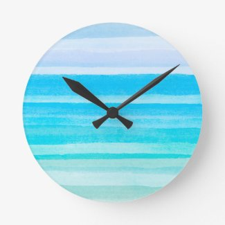 Ocean Blue Teal Watercolor Ombre Stripe Clock
