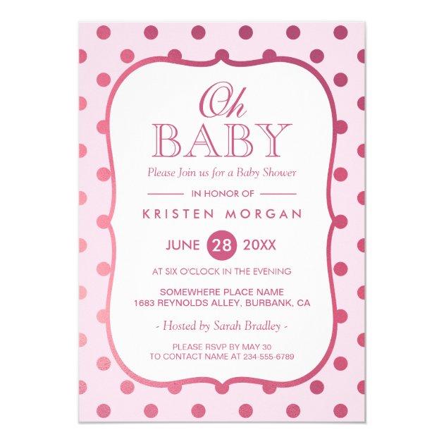 Baby Girl Shower Invitations  Polka Dots Theme Mimoprints