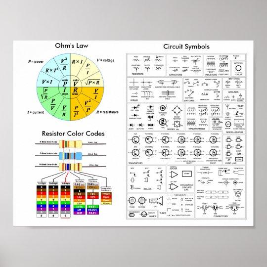 Ohm\u0027s Law, Resistor Color Code, Circuit Symbols Poster