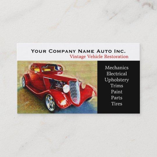 Old Car Repair Shop - Restorations Business Card Zazzle