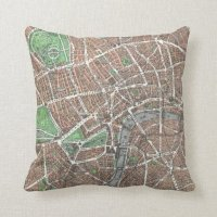 Old Map of London Throw Pillow | Zazzle