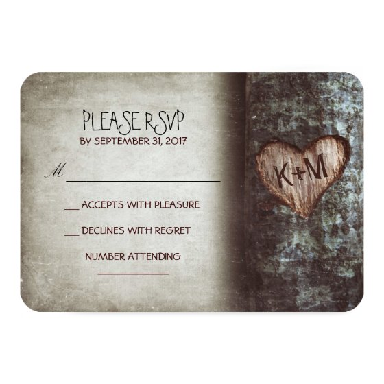 Old tree rustic wedding RSVP cards