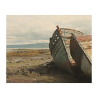 Old wooden boats on a Scottish beach, wood canvas Wood ...
