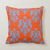 Opposites Attract Orange and Blue Damask Pillows | Zazzle
