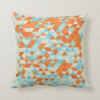 Blue And Orange Triangle Pattern Pillows - Decorative ...