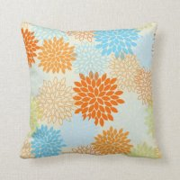 Orange and Blue Mums Pillows | Zazzle