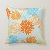 Orange and Blue Mums Throw Pillow | Zazzle