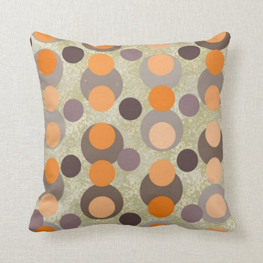 Retro Kissen Orange And Brown Retro Pillow | Zazzle