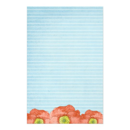 Orange Poppies Watercolor Lined Letter Writing Stationery Zazzle - lined letter writing paper