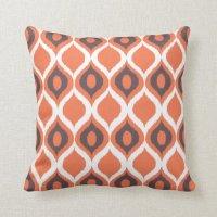 Orange Retro Geometric Ikat Tribal Print Pattern Throw ...