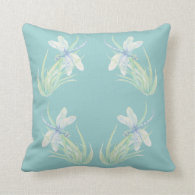 Original Watercolor Dragonfly in Blue and Green Throw Pillows