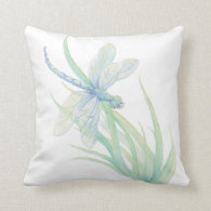 Original Watercolor Dragonfly in Blue and Green Pillow