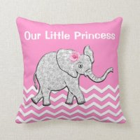 Our Little Princess Pink Baby Elephant Pillows | Zazzle