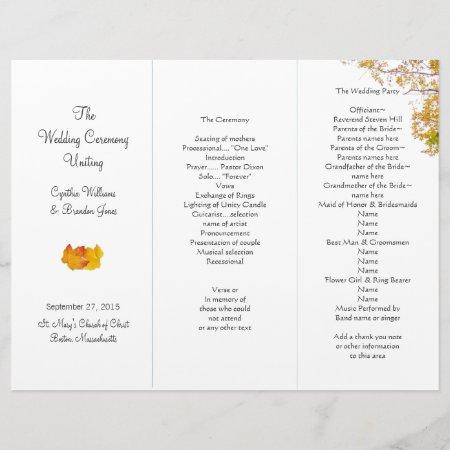 Our Tree Tri-fold Wedding Program Template 851978