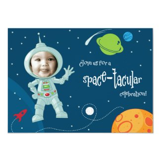 Outer Space Astronaut Birthday Invitation Card