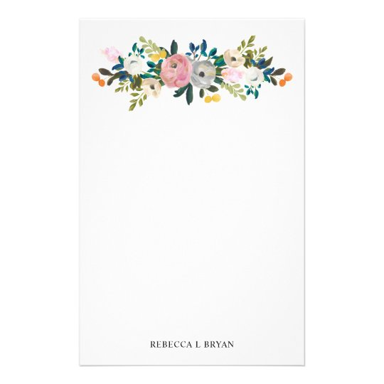 Painted Floral Blooms Spring Garden Garland Stationery Zazzle