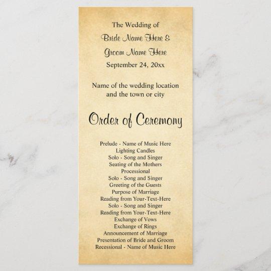 Parchment Pattern Design Wedding Program Zazzle