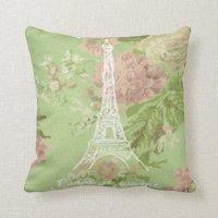 Paris, je t'aime Vintage Floral Eifel Tower Throw Pillows