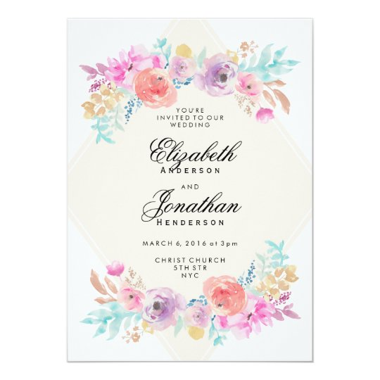 Pastel Watercolor Flowers Wedding Invitation Zazzlecom