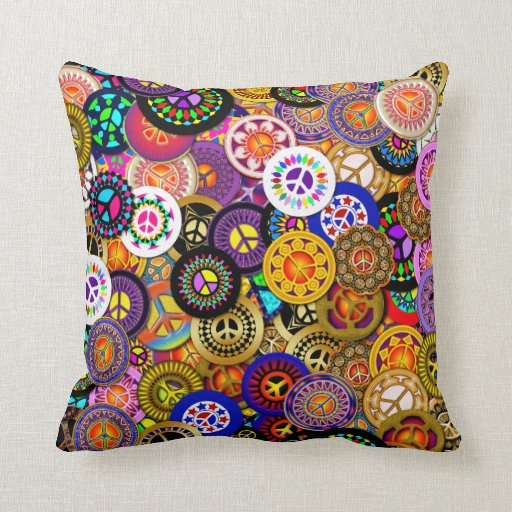 Peace Signs Collage Throw Pillow Zazzle