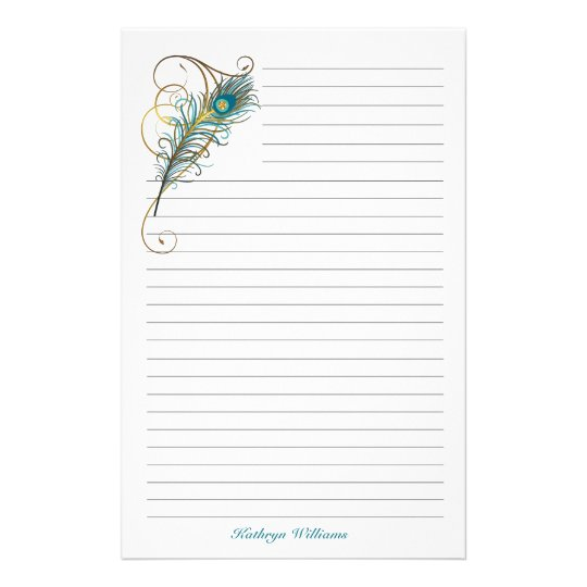 Peacock Feathered Teal and Golden Lined Stationery Zazzle - lined stationery paper