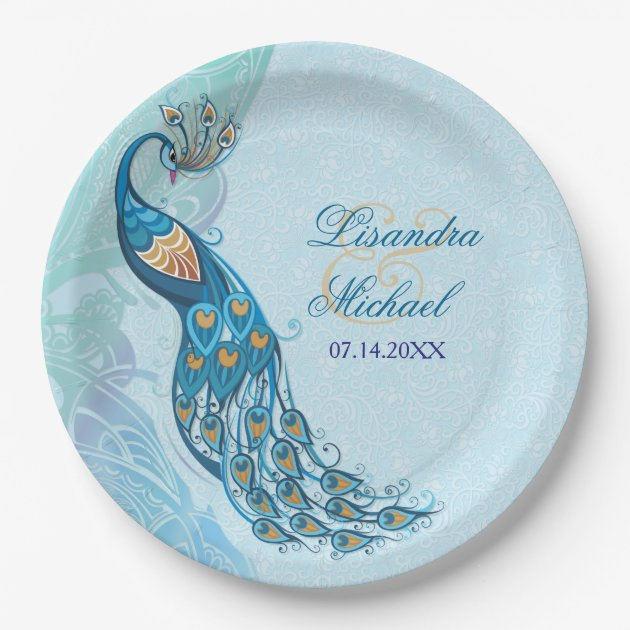 Peacock Lace Elegance Custom Paper Plates 9 Inch Paper