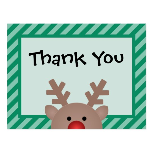 Peek A Boo Reindeer Holiday Thank You Postcard Zazzle
