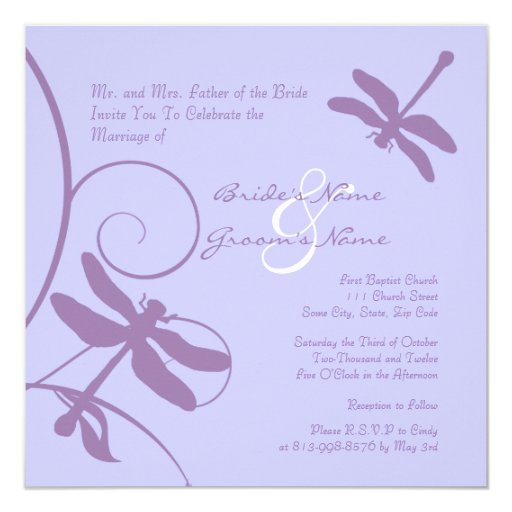 Periwinkle Lavender Dragonfly Wedding Invitation Zazzle