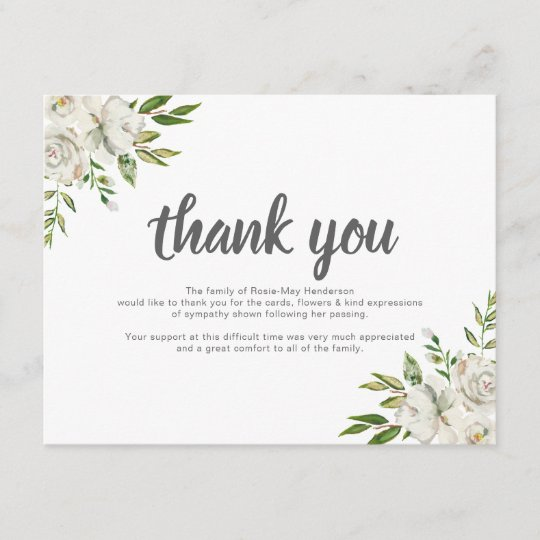 Personalized Funeral Thank You Note Behreavement Zazzle - thank you note