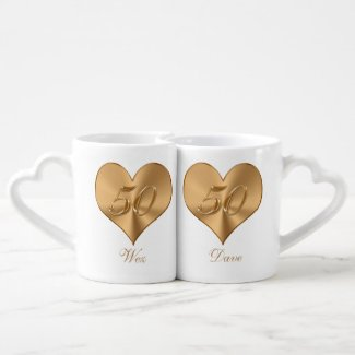 PERSONALIZED Heart Golden 50th Anniversary Mugs Couples' Coffee Mug Set