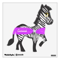 Personalized Pink Ribbon Zebra Wall Decal | Zazzle