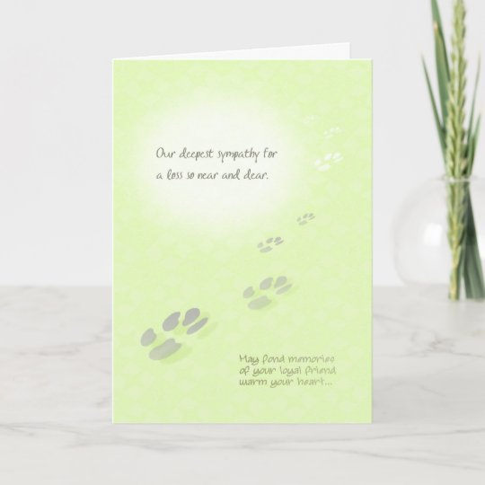 Pet Loss Sympathy Card - Pawprints Zazzle
