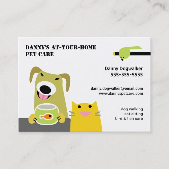 Pet Sitter Business Card Cat and Dog in Chairs Zazzle