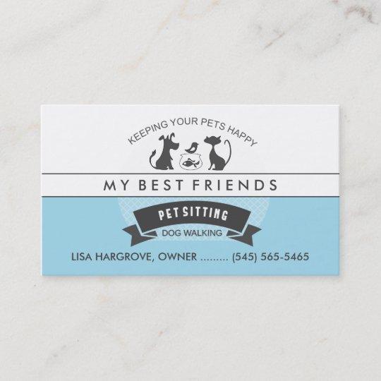 Pet Sitting  Care Blue  White Retro Design Business Card Zazzle