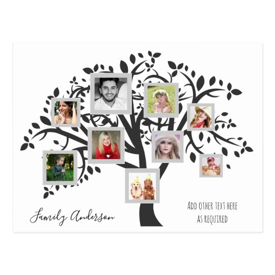 Photo Collage Family Tree Template Personalized Postcard Zazzle - postcard collage template