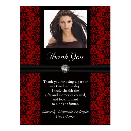 Photo Graduation Thank You Card Black/Red Damask Zazzle