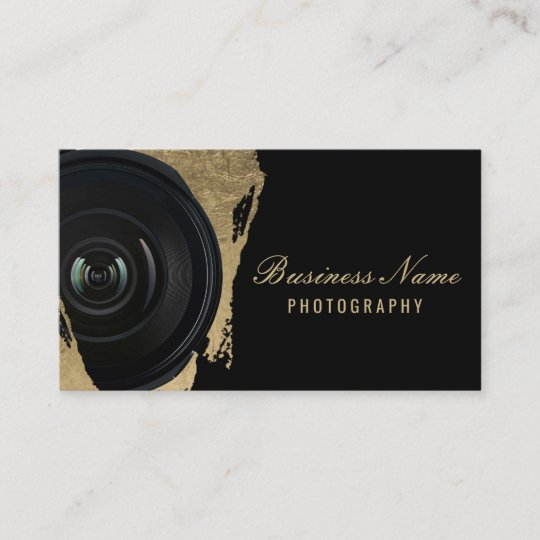 Photographer Modern Black  Gold Photography Business Card Zazzle