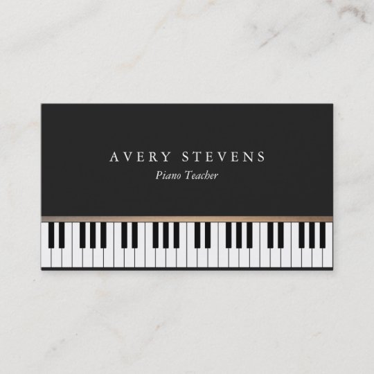 Pianist Elegant and Simple Black Piano Keys Business Card Zazzle