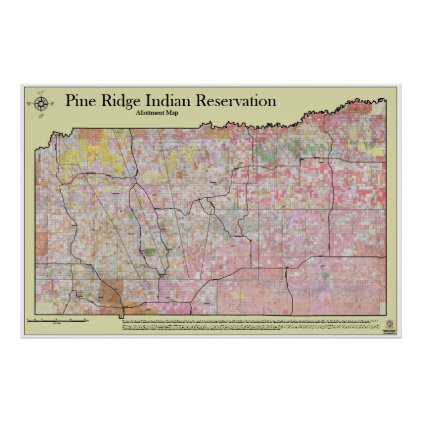 Pine Ridge Reservation Allottments (w/ topography) Print