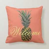 Pineapple Welcome Throw Pillow | Zazzle