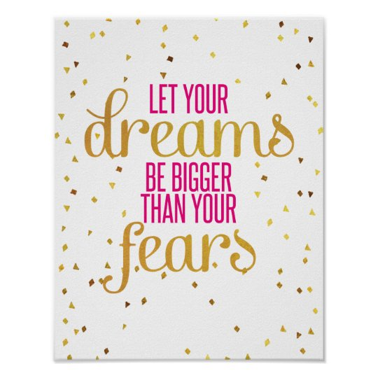 Fight Like A Girl Breast Cancer Wallpaper Pink And Gold Dreams Inspirational Quote Poster Zazzle Com