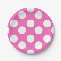 Pink and White Polka Dot Paper Plates | Zazzle